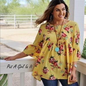 Tops - Plus size boho yellow floral baby doll 3/4 sleeve